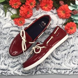 Cole Haan red patent leather loafers like new